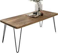 wohnling esstisch massivholz sheesham 120 x 80 x 76 cm esszimmer tisch küchentisch modern landhaus stil holztisch mit metallbeinen dunkel braun