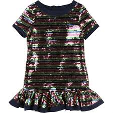 Marc Jacobs Girls Multicolored Sequins Stripes Dress