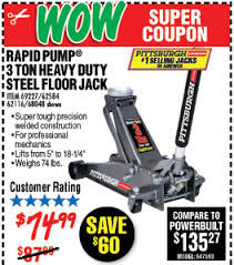 Harbor Freight 3 Ton Aluminum Floor Jack by Savings Coupons At Harbor Freight Tools
