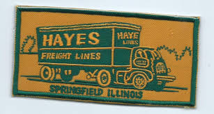 Hayes Freight Lines Springfield IL Truck Driver Patch 3 X