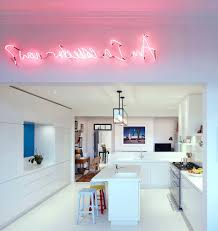 London Pink Kitchen With Midcentury Modern Island Lights Contemporary And Bar Stools Open Plan