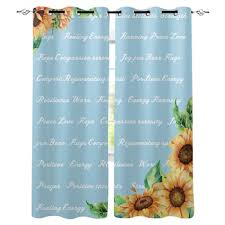 sunflower healing text warms retro window curtains living