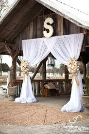 Fancy Rustic Wedding Decoration Venue With Draped Fabric For Dramatic Entrance Used Decorations