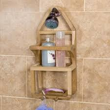 Teak Bath Caddy Australia by Brown Teak Shower Caddy With Double Racks On Black Shower