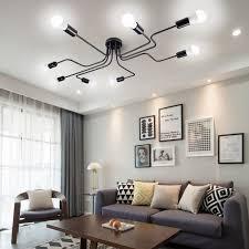 8 lichter metall unterputz deckenleuchte moderne schwarze stahl kunst mitte jahrhundert vintage sputnik kronleuchter wohnzimmer esszimmer schlafzimmer