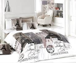 100% Cotton 4pcs Paris Vintage Gray Full Double Size Duvet Cover