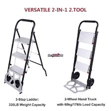 100 Two Wheel Hand Truck Step Ladder Folding Cart Dolly 175lbs With S 2