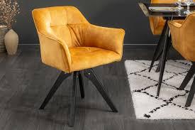 design esszimmerstuhl retro samt drehbar senfgelb dunord