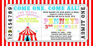 Carnival Ticket Circus Trend Invitation Template Free Printable