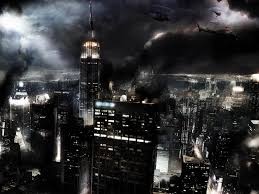 cityscapes night lights helicopters smoke buildings empire state