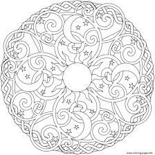 Christmas Mandala Free Printable Sun Moon Stars Colouring Book Print Coloring Pages Adults Full Size