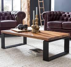 couchtisch sheesham 115x35x60 cm massiv holz sofatisch mit metallgestell wohnzimmertisch rechteckig massivholz braun holztisch modern tisch