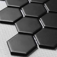 matt hexagon ceramic mosaic tiles black color for living room