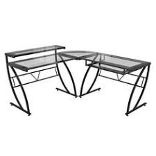 Glass Desk Office Depot by Techni Mobili L Shaped Glass Desk With Chrome Frame In Black
