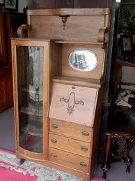 vintage oak drop front desk book case secretary mirrored china