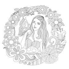 Download Pretty Girl Playing With Butterfly In The Flowers Garden Line Art For Coloring Page