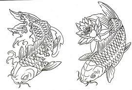 Pin Drawn Koi Carp Coloring Page 2