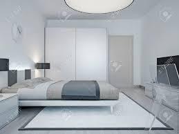 modernes hotel raumgestaltung zimmer mit luxuriösen bett schwarze le schrank mit schiebetür und einem großen runden le an der decke 3d