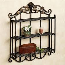 Wrought Iron Bathroom Shelves Furniture Awesome Shelf With Pretty Look Perfecting Decoration