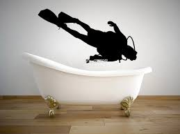 scuba taucher unter wasser wand aufkleber grafik vinyl aufkleber sport wasser badezimmer dekor vinyl aufkleber design wandbild sa715