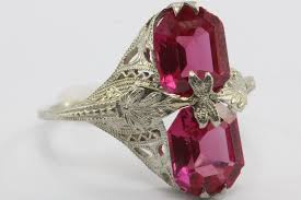 deco ruby and ring antique 14k white gold deco ruby ring may