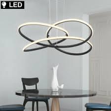 details zu design led hänge pendel le ess zimmer decken leuchte schwarz geschwungen rund