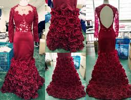 burgundy long sleeve prom dresses 2017 mermaid lace floral evening