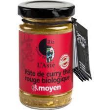 pâte de curry thaï jaune biologique sauce thaïe douce origine