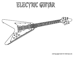 Guitar Coloring Pages Grand Guitars Free Electric Sheets