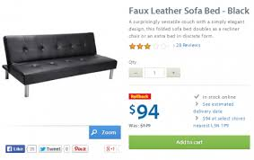 walmart canada rollback deals faux leather sofa bed in black for