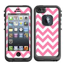 Skins FOR Lifeproof iPhone 5 Case – Chevron Light Pink and White