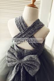 backless gray lace tulle flower dress with big bow