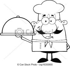 Black And White Happy Chef Vector