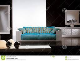 zeitgenössisches wohnzimmer mit blauem sofa stockfoto bild
