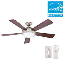 hunter palermo 52 in indoor brushed nickel ceiling fan with