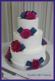 Navy Blue And Pink Wedding Cake