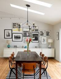 Semi Formal Dining Room Dark Wood Table Industrial Chairs Black White Stripes Linen