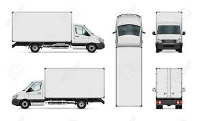 100 Truck Top White Van Vector Template Isolated Delivery All Elements