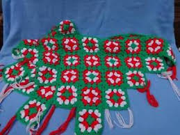 Image Is Loading HAND CROCHETED GRANNY SQUARE CHRISTMAS TREE SKIRT RED