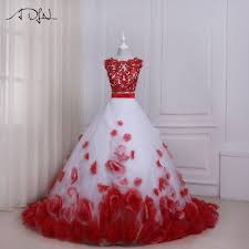 online get cheap white wedding dress with red flowers aliexpress
