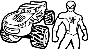 Lightning Mcqueen Monster Truck And Spiderman Coloring Pages For Kids Book