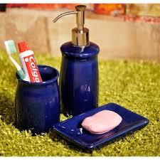 exclusivelane ceramic bathroom accessory set of 3 royal blue