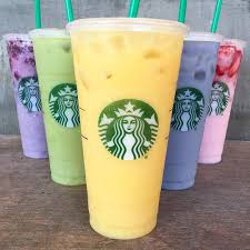 Starbucks Purple Green Orange Blue And Pink Drinks