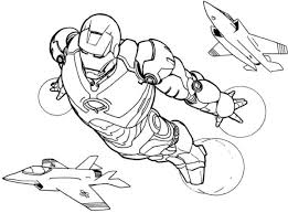 Flying Iron Man Coloring Pages For Super Heroes