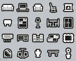 wohnzimmer möbel icons weiß auf schwarz aufkleber set big stock vektor und mehr bilder aufkleber
