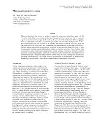 PDF Marine Archaeology In India