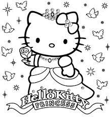 Hello KittyHappy Birthday Princess Coloring Sheet