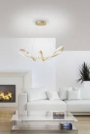 led pendelleuchte blattgold modern design wellenform 57x57cm