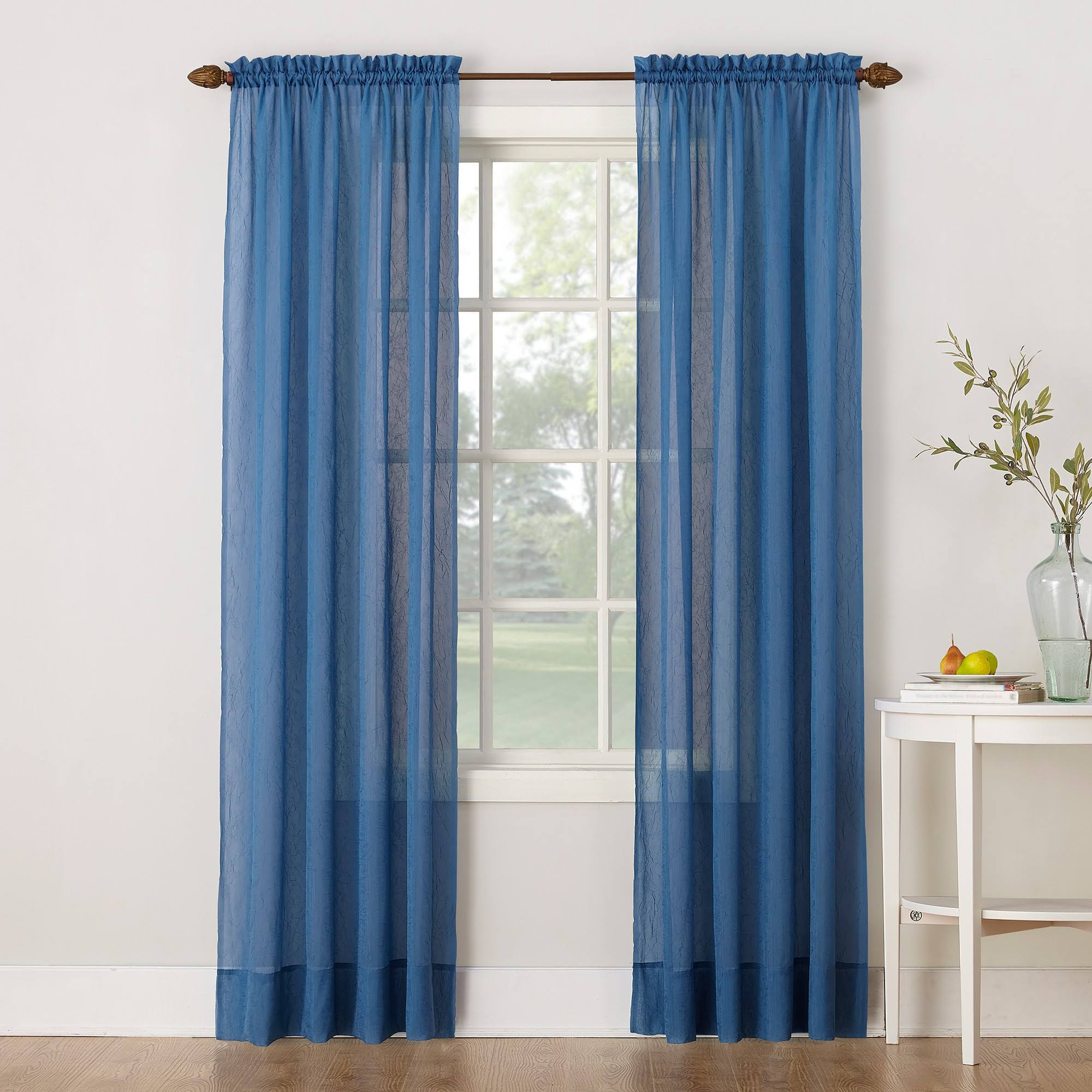 "No. 918 Crushed Voile 51"" x 84"" Sheer Curtain Panel - Blue"