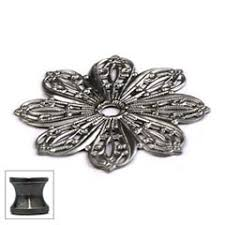 cal crystal 24bp us5 solid brass cabinet knob backplate flower